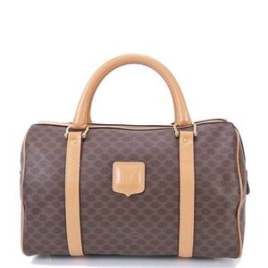 CELINE Macadam Canvas and Leather Boston Bag